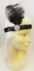 1920's Flapper Downton Gatsby Sequin Feather Headband Headpiece  Browband with Rhinestone and pearl fitting